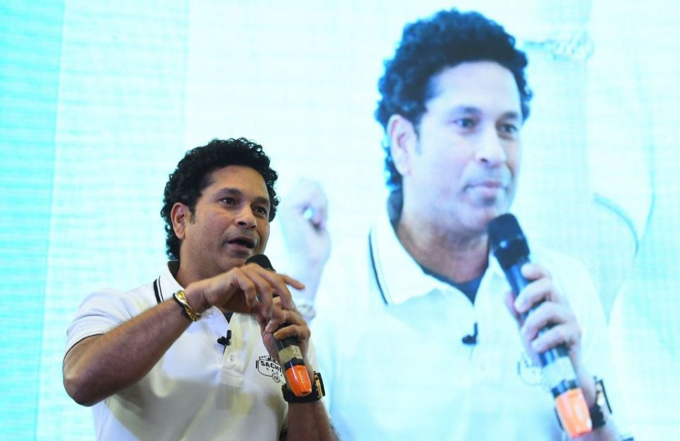 Indian former cricketer Sachin Tendulkar speaks before he launches India's first multiplayer virtual reality cricket game 'Sachin Saga VR' in New Delhi on February 4, 2019. - The game was launched by JetSynthesys, a digital entertainment and gaming company. (Photo by Sajjad HUSSAIN / AFP) (Photo credit should read SAJJAD HUSSAIN/AFP/Getty Images)