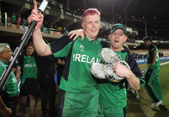 BANGALORE, INDIA - MARCH 02:  Kevin O'Brien of Ireland celebrates with Niall O'Brien of Ireland at the end of the match during the 2011 ICC World Cup Group B match between England and Ireland at the M. Chinnaswamy Stadium on March 2, 2011 in Bangalore, India.  (Photo by Tom Shaw/Getty Images)