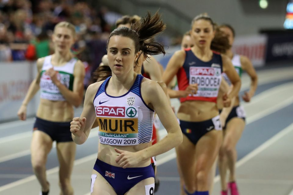 GLASGOW, SCOTLAND - MARCH 03:  Laura Muir of Great Britain in action during the final of the women's 1500m on day three of the 2019 European Athletics Indoor Championships at Emirates Arena on March 3, 2019 in Glasgow, Scotland.  (Photo by Ian MacNicol/Getty Images)