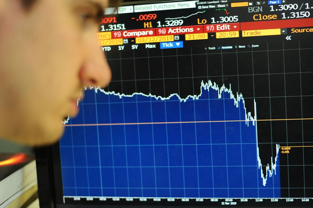 Sterling hits two-year low as contraction worries mount