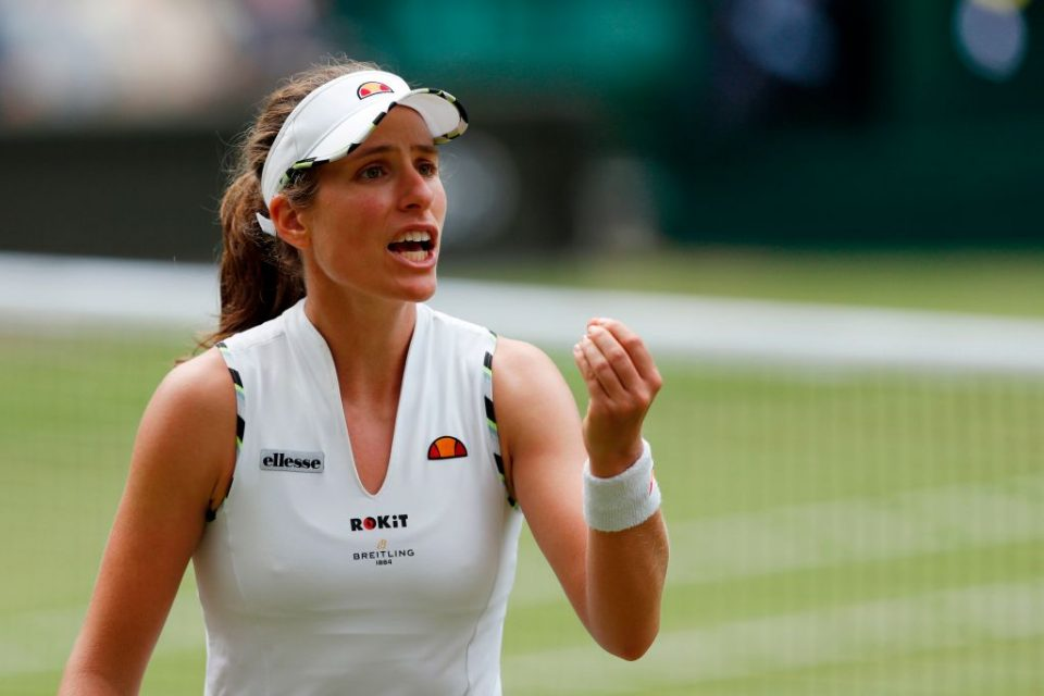 Britain's Johanna Konta reacts after hitting a shot out against Czech Republic's Barbora Strycova during their women's singles quarter-final match on day eight of the 2019 Wimbledon Championships at The All England Lawn Tennis Club in Wimbledon, southwest London, on July 9, 2019. (Photo by Adrian DENNIS / AFP) / RESTRICTED TO EDITORIAL USE (Photo credit should read ADRIAN DENNIS/AFP/Getty Images)