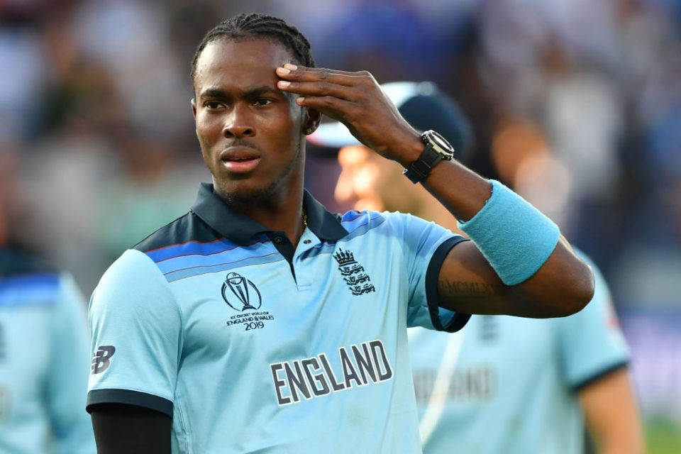 England's Jofra Archer gestures during the 2019 Cricket World Cup final between England and New Zealand at Lord's Cricket Ground in London on July 14, 2019. (Photo by Paul ELLIS / AFP) / RESTRICTED TO EDITORIAL USE        (Photo credit should read PAUL ELLIS/AFP/Getty Images)