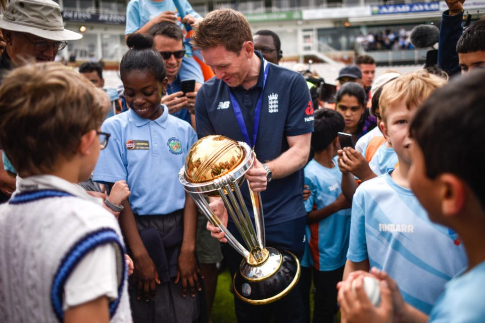 LONDON, ENGLAND - JULY 15: Eoin Morgan, Captain, during the England ICC World Cup Victory Celebration at The Kia Oval on July 15, 2019 in London, England. (Photo by Peter Summers/Getty Images)