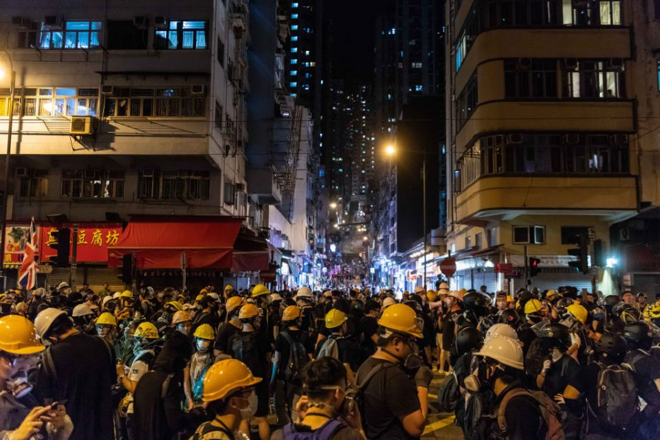 Police shot pro-democracy protesters in Hong Kong with rubber bullets before the incident at Yuen Long train station last night
