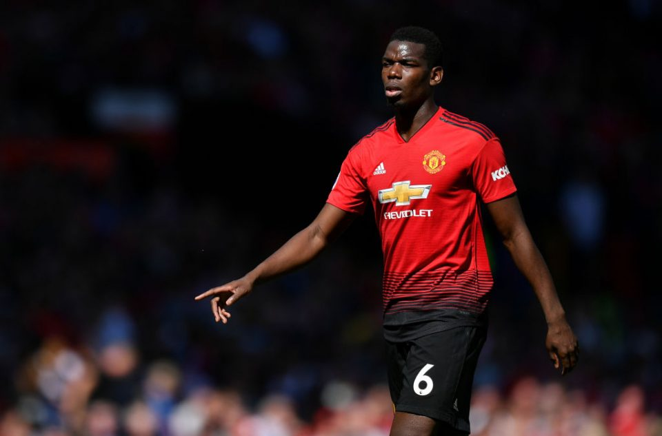 MANCHESTER, ENGLAND - MAY 12: Paul Pogba of Manchester United looks on during the Premier League match between Manchester United and Cardiff City at Old Trafford on May 12, 2019 in Manchester, United Kingdom. (Photo by Dan Mullan/Getty Images)