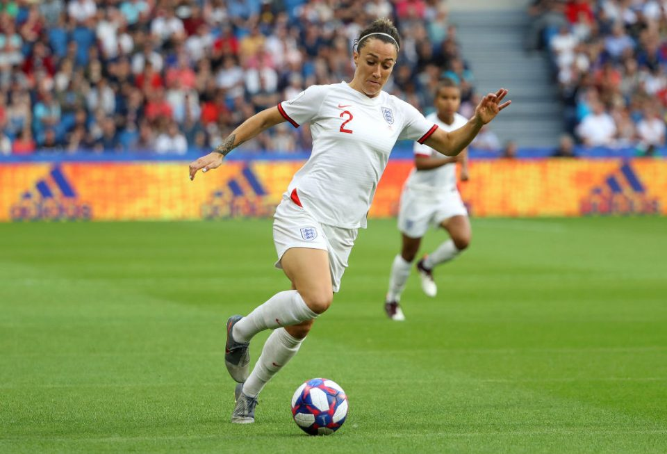 LE HAVRE, FRANCE - JUNE 27:  Lucy Bronze of England runs with the ball during the 2019 FIFA Women's World Cup France Quarter Final match between Norway and England at Stade Oceane on June 27, 2019 in Le Havre, France. (Photo by Robert Cianflone/Getty Images)