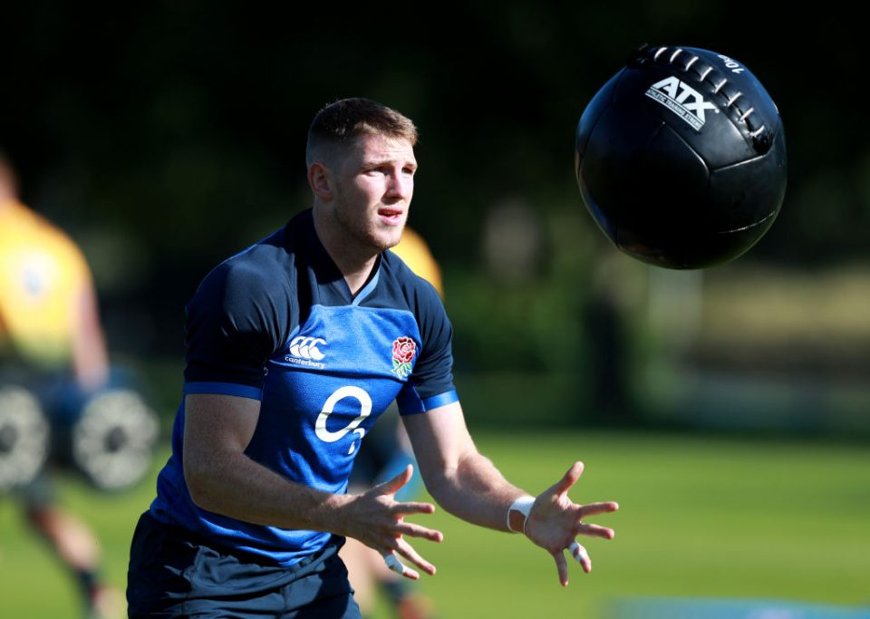 LONDON, ENGLAND - JULY 02:  Ruaridh McConnochie works out with a medicine ball during the England training session held at the Lensbury Club on July 02, 2019 in London, England. (Photo by David Rogers/Getty Images)