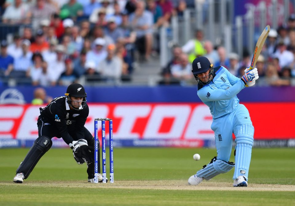 CHESTER-LE-STREET, ENGLAND - JULY 03:  Jason Roy of England in action batting as Tom Lathan of New Zealand looks on during the Group Stage match of the ICC Cricket World Cup 2019 between England and New Zealand at Emirates Riverside on July 03, 2019 in Chester-le-Street, England. (Photo by Clive Mason/Getty Images)