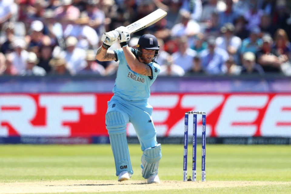CHESTER-LE-STREET, ENGLAND - JULY 03: Ben Stokes of England plays through the offsdie during the Group Stage match of the ICC Cricket World Cup 2019 between England and New Zealand at Emirates Riverside on July 03, 2019 in Chester-le-Street, England (Photo by Michael Steele/Getty Images)