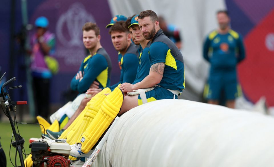 BIRMINGHAM, ENGLAND - JULY 10:   Matthew Wade looks on with team mates during the Australia nets practice at Edgbaston on July 10, 2019 in Birmingham, England. (Photo by David Rogers/Getty Images)
