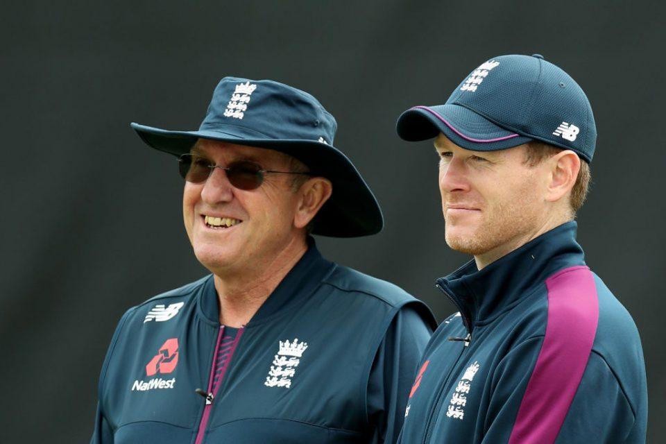 BIRMINGHAM, ENGLAND - JULY 10: Head Coach of England Trevor Bayliss and Eoin Morgan, England Cricket captain look on during the England net session at Edgbaston on July 10, 2019 in Birmingham, England. (Photo by David Rogers/Getty Images)