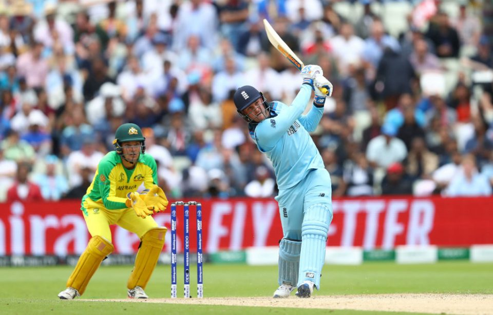 BIRMINGHAM, ENGLAND - JULY 11:  Jason Roy of England hits a six off the bowling of Steve Smith of Australia during the Semi-Final match of the ICC Cricket World Cup 2019 between Australia and England at Edgbaston on July 11, 2019 in Birmingham, England. (Photo by Michael Steele/Getty Images)