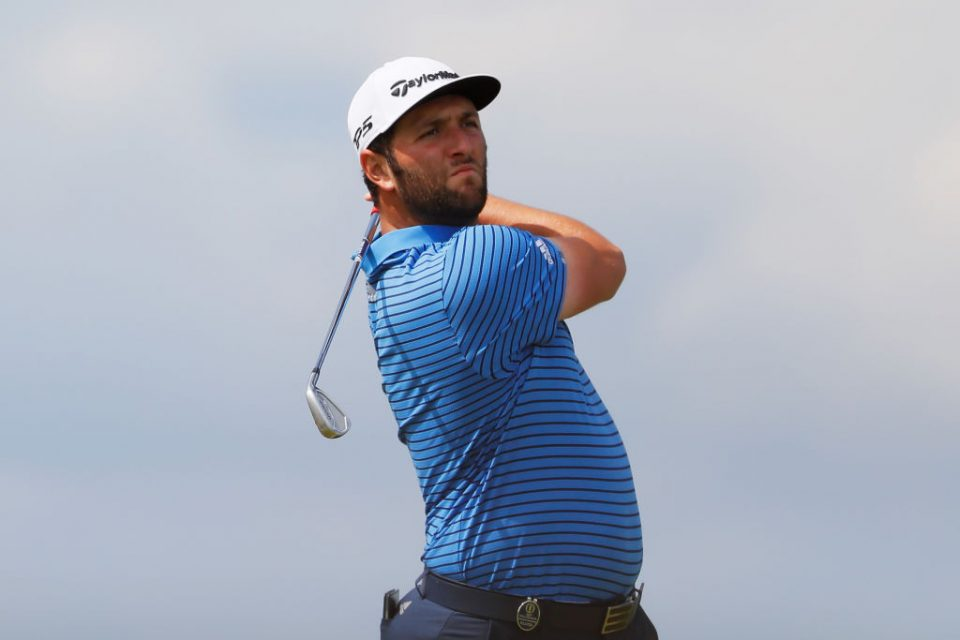 PORTRUSH, NORTHERN IRELAND - JULY 16: Jon Rahm of Spain plays his shot from the fourth tee during a practice round prior to the 148th Open Championship held on the Dunluce Links at Royal Portrush Golf Club on July 16, 2019 in Portrush, United Kingdom. (Photo by Kevin C. Cox/Getty Images)