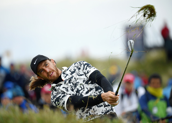 PORTRUSH, NORTHERN IRELAND - JULY 21: Tommy Fleetwood of England plays a shot on the 17th hole during the final round of the 148th Open Championship held on the Dunluce Links at Royal Portrush Golf Club on July 21, 2019 in Portrush, United Kingdom. (Photo by Stuart Franklin/Getty Images)