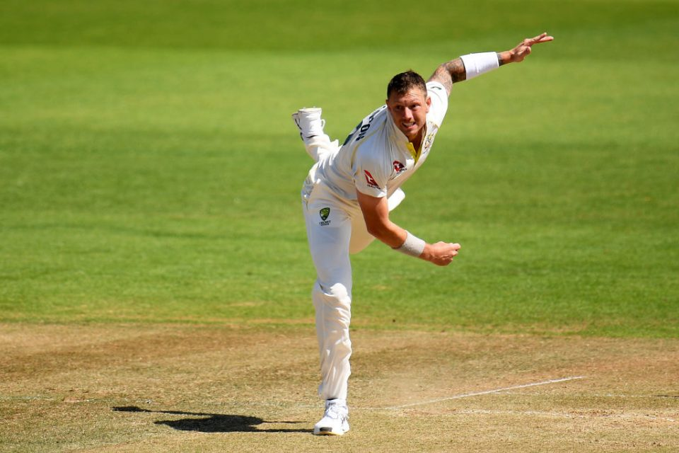 SOUTHAMPTON, ENGLAND - JULY 24: James Pattinson of Graeme Hick XII bowls during day two of the Australian Cricket Team Ashes Tour match between Brad Haddin XII and Graeme Hick XII at The Ageas Bowl on July 24, 2019 in Southampton, England. (Photo by Harry Trump/Getty Images)