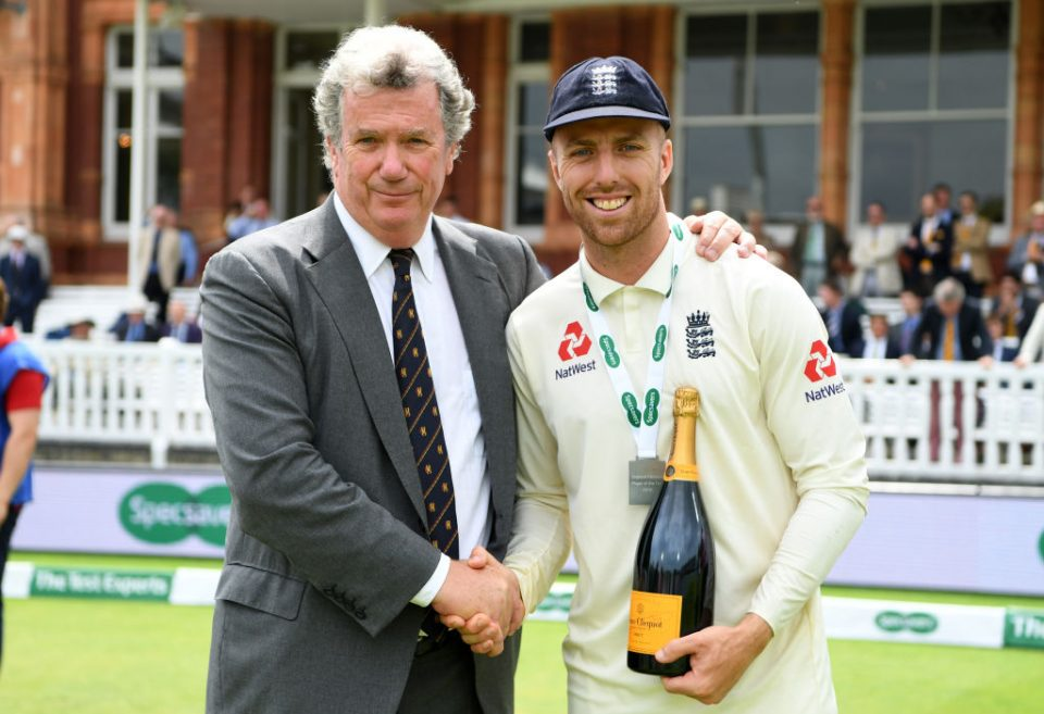 LONDON, ENGLAND - JULY 26: Jack Leach of England is presented with his man of match award after winning the Specsavers Test Match between England and Ireland at Lord's Cricket Ground on July 26, 2019 in London, England. (Photo by Gareth Copley/Getty Images)