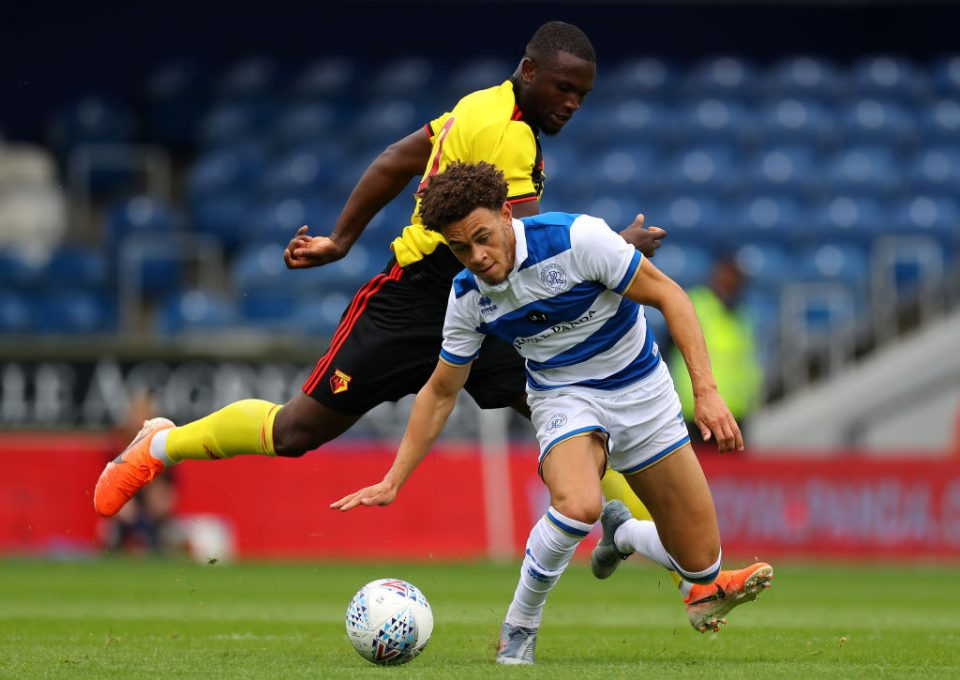 LONDON, ENGLAND - JULY 27: Isaac Success of Watford holds off Luke Amos of QPR during the Pre-Season Friendly match between QPR and Watford at The Kiyan Prince Foundation Stadium on July 27, 2019 in London, England. (Photo by Richard Heathcote/Getty Images)