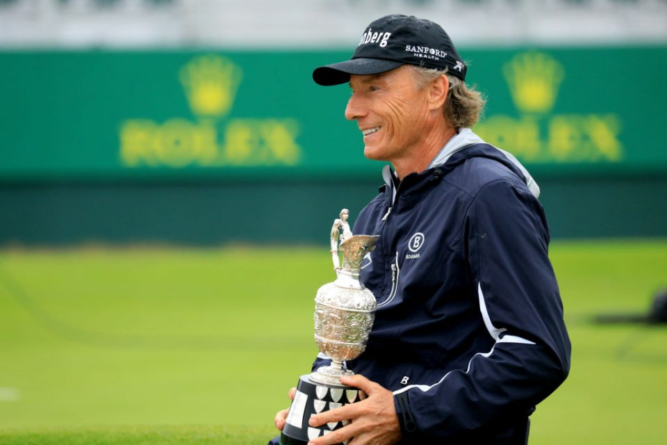 LYTHAM ST ANNES, ENGLAND - JULY 28: Bernhard Langer of Germany poses with the champions trophy after the final round of the Senior Open presented by Rolex played at Royal Lytham & St. Annes on July 28, 2019 in Lytham St Annes, England. (Photo by Phil Inglis/Getty Images)
