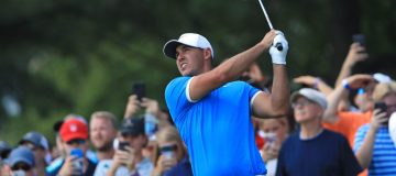 MEMPHIS, TENNESSEE - JULY 28: Brooks Koepka plays a shot on the 11th hole during the final round of the World Golf Championship-FedEx St Jude Invitational at TPC Southwind on July 28, 2019 in Memphis, Tennessee. (Photo by Sam Greenwood/Getty Images)