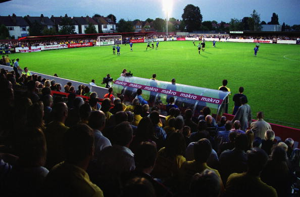 KINGSTON - 21 AUGUST:  General view of the sold-out Kingsmeadow Stadium during the Combined Counties League match between AFC Wimbledon and Chipstead at the Kingsmeadow Stadium in Kingston, England on 21 August, 2002. The match ended AFC Wimbledon 1 - Chipstead 2 and was the first ever home match for AFC Wimbledon. (Photo by Dave Etherdige-Barnes/Getty Images).