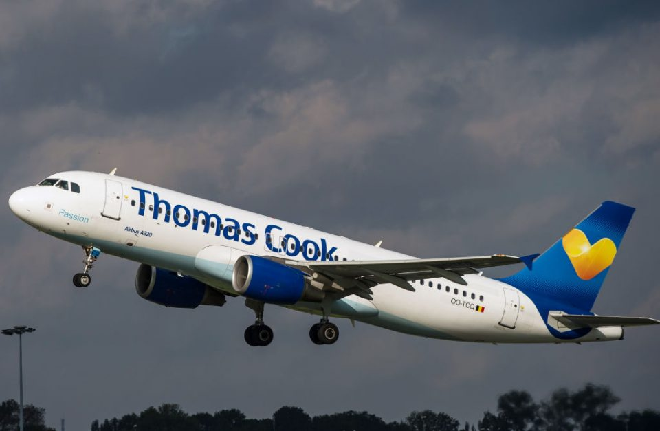 Thomas Cook plane takes off but the firm has collapsed into administration