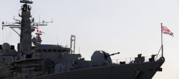 A picture taken on February 3, 2014, shows the British warship HMS Montrose docked in the Cypriot port of Limassol on February 3, 2014. The Royal Navy ship is assisting in the removal of the Syrian chemical stocks as part of an international effort to destroy them. AFP PHOTO/STR (Photo credit should read -/AFP/Getty Images)
