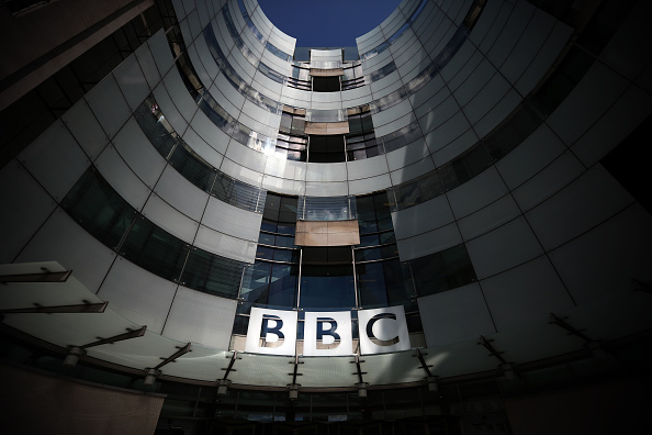 LONDON, ENGLAND - JULY 25: The logo for the Broadcasting House, the headquarters of the BBC is displayed outside on July 25, 2015 in London, England. The main Art Deco-style building of the British Broadcasting Corporation was officially opened on 15 May 1932 and has since seen extensive refurbishment with an extension to the main building completed in 2005. (Photo by Carl Court/Getty Images)