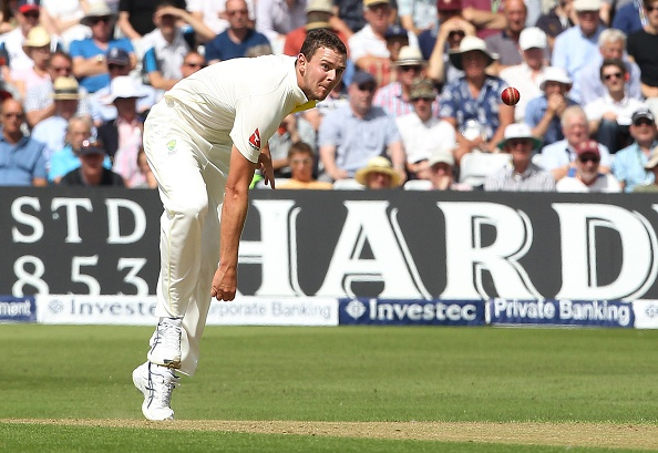 Australia's Josh Hazlewood bowls on the first day of the fourth Ashes cricket Test match between England and Australia at Trent Bridge in Nottingham, England on August 6, 2015.  AFP PHOTO / LINDSEY PARNABY   --   RESTRICTED TO EDITORIAL USE. NO ASSOCIATION WITH DIRECT COMPETITOR OF SPONSOR, PARTNER, OR SUPPLIER OF THE ECB        (Photo credit should read LINDSEY PARNABY/AFP/Getty Images)