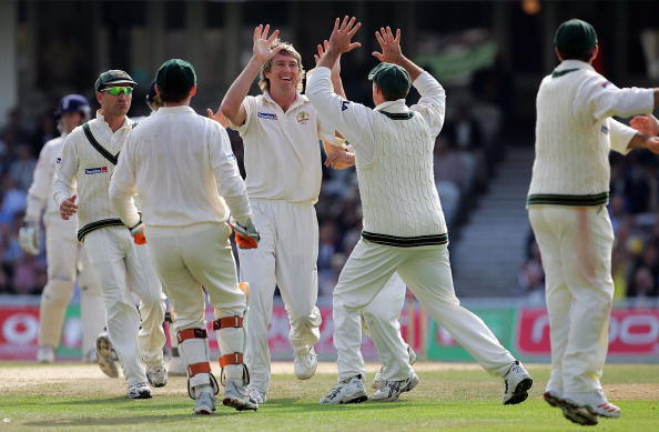 LONDON - SEPTEMBER 12:  Glenn McGrath of Australia celebrates taking the wicket of Ian Bell of England during day five of the fifth npower Ashes Test match between England and Australia at the Brit Oval on September 12, 2005 in London, England.  (Photo by Clive Rose/Getty Images)