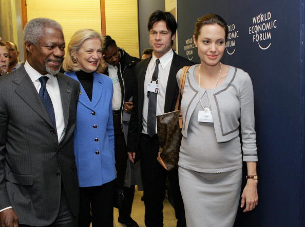 Angelina Jolie (right) and Brad Pitt have attended the World Economic Forum
