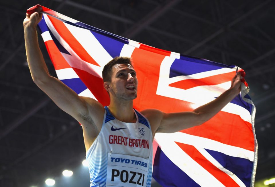 BIRMINGHAM, ENGLAND - MARCH 04: Andrew Pozzi of Great Britain celebrates winning the Men's 60m Hurdles Final during Day Four of the IAAF World Indoor Championships at Arena Birmingham on March 4, 2018 in Birmingham, England. (Photo by Tony Marshall/Getty Images)