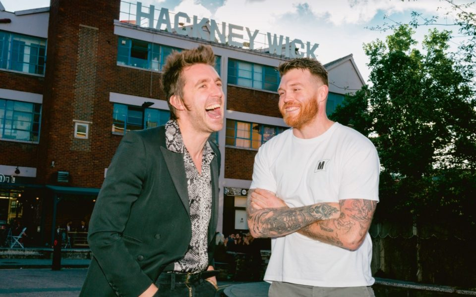Miles Kane and Tom Brown outside Brown's Cornerstone restaurant in Hackney Wick