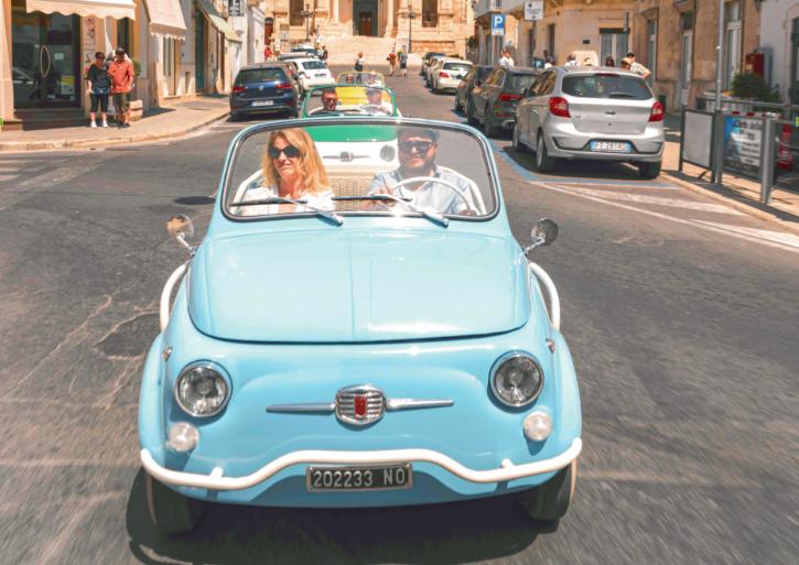 Discover La Dolce Vita for €300 a day in this retro-mod Fiat 500 rental car