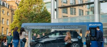 *** FREE FOR EDITORIAL USE *** The world's first contactless car vending machine was unveiled today in Spitalfields Market, London, by Auto Trader, giving motorists a chance to buy a brand-new car via contactless payment on their smartphones. Picture date: Wednesday, August 21, 2019. The vending machine features a brand new Renault Zoe at a pre-haggled price, which can be purchased via tap and go contactless payment. Research by Auto Trader reveals haggling to get the best deal is Brits' biggest anxiety when it comes to buying a new car.