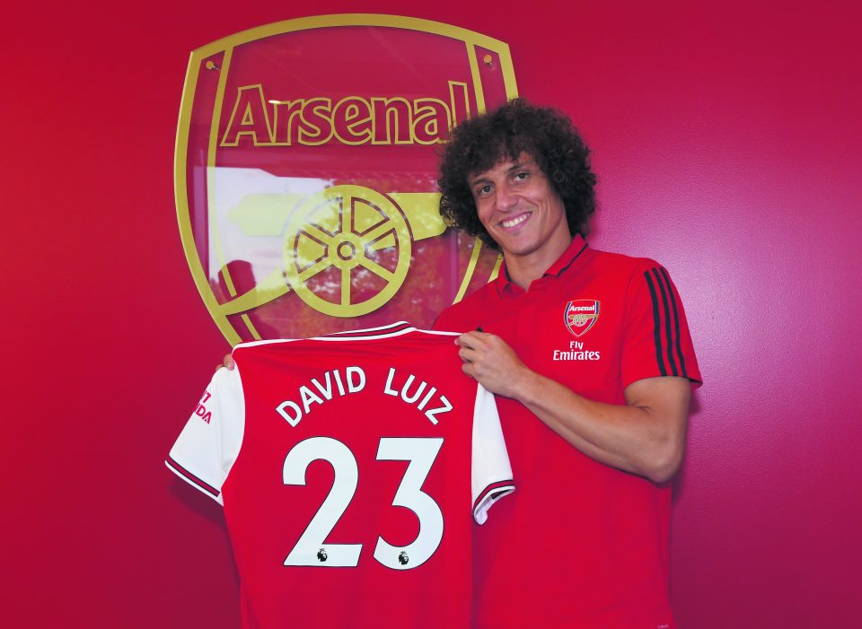 ST ALBANS, ENGLAND - AUGUST 08: New Arsenal signing David Luiz at London Colney on August 08, 2019 in St Albans, England. (Photo by Stuart MacFarlane/Arsenal FC via Getty Images)