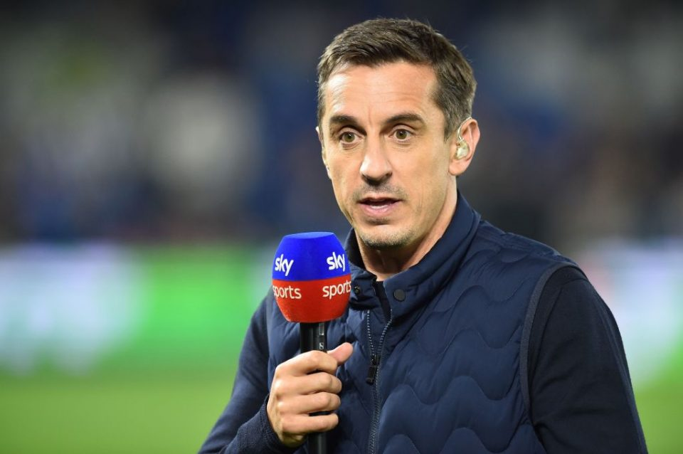 Sky Sports commentator and former footballer Gary Neville gestures before the English Premier League football match between Brighton and Hove Albion and West Ham at the American Express Community Stadium in Brighton, southern England on October 5, 2018. (Photo by Glyn KIRK / AFP) / RESTRICTED TO EDITORIAL USE. No use with unauthorized audio, video, data, fixture lists, club/league logos or 'live' services. Online in-match use limited to 120 images. An additional 40 images may be used in extra time. No video emulation. Social media in-match use limited to 120 images. An additional 40 images may be used in extra time. No use in betting publications, games or single club/league/player publications. /         (Photo credit should read GLYN KIRK/AFP/Getty Images)