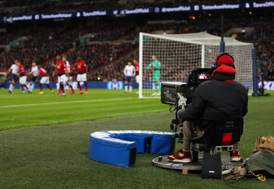 LONDON, ENGLAND - JANUARY 13: General view as a television tv camera films during the Premier League match between Tottenham Hotspur and Manchester United at Wembley Stadium on January 13, 2019 in London, United Kingdom. (Photo by Catherine Ivill/Getty Images)