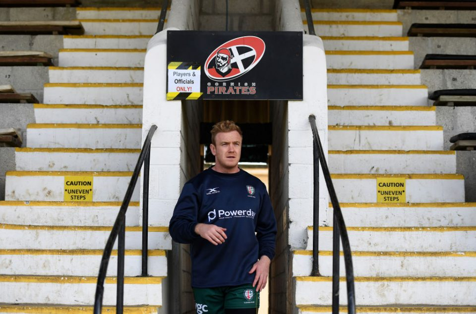 PENZANCE, ENGLAND - MARCH 30: Conor Gilsenan of London Irish makes his way out prior to kick off during the Greene King IPA Championship match between Cornish Pirates and London Irish at Mennaye Field on March 30, 2019 in Penzance, England. (Photo by Harry Trump/Getty Images)