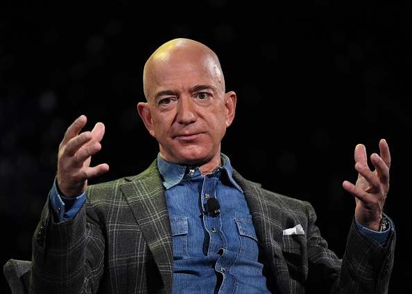 Amazon Founder and CEO Jeff Bezos addresses the audience during a keynote session at the Amazon Re:MARS conference on robotics and artificial intelligence at the Aria Hotel in Las Vegas, Nevada on June 6, 2019. (Photo by Mark RALSTON / AFP) (Photo credit should read MARK RALSTON/AFP/Getty Images)