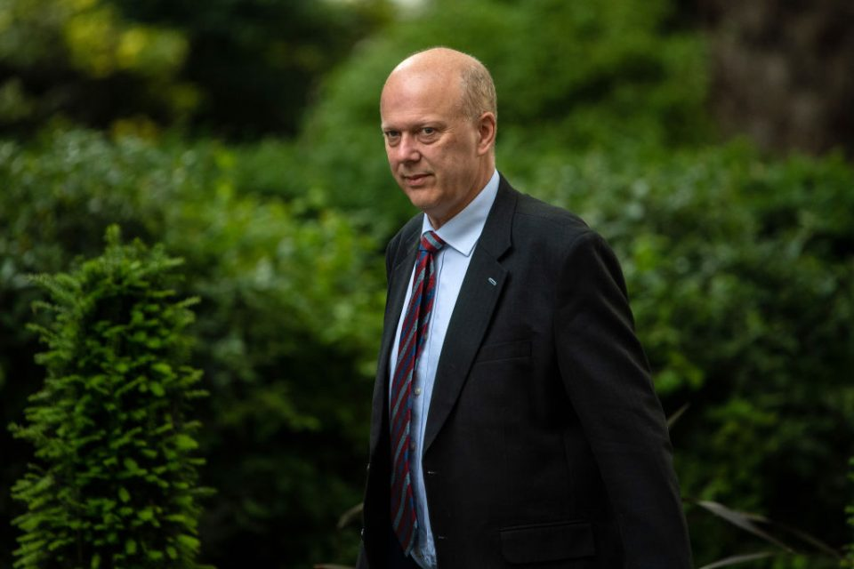 Former transport secretary Chris Grayling