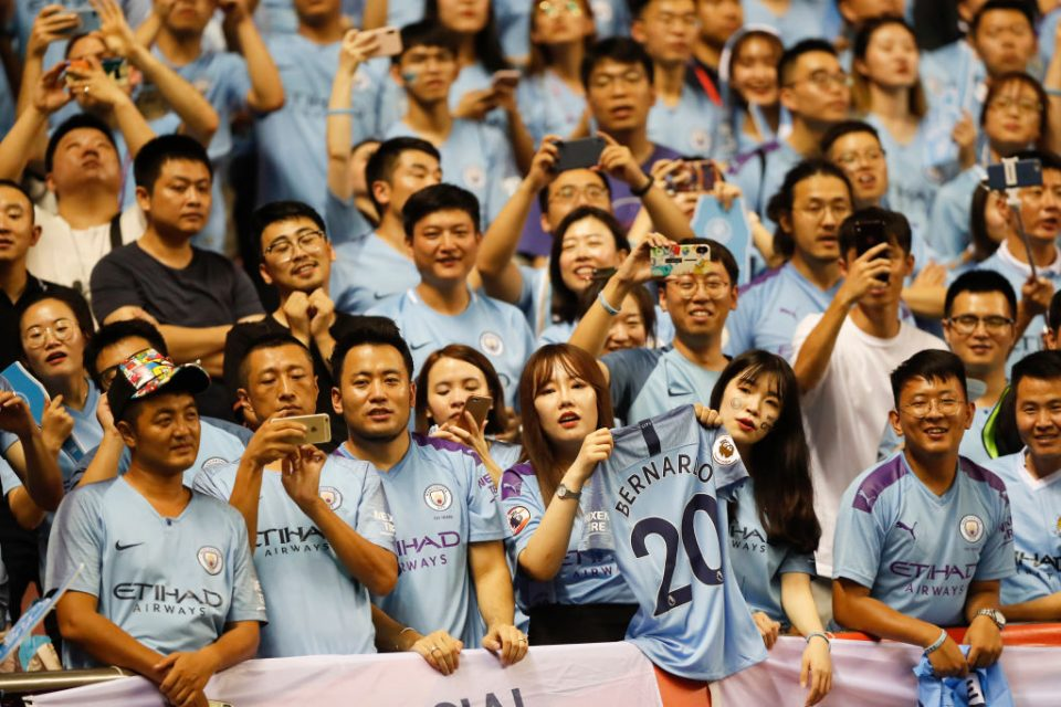 SHANGHAI, CHINA - JULY 20: Fans of Manchester City reacts during Manchester City v Wolverhampton Wanderers - Premier League Asia Trophy Final on July 20, 2019 in Shanghai, China. (Photo by Fred Lee/Getty Images for Premier League)