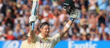 Australia's Steve Smith celebrates his century on the opening day of the first Ashes cricket Test match between England and Australia at Edgbaston in Birmingham, central England on August 1, 2019. (Photo by Lindsey Parnaby / AFP) / RESTRICTED TO EDITORIAL USE. NO ASSOCIATION WITH DIRECT COMPETITOR OF SPONSOR, PARTNER, OR SUPPLIER OF THE ECB (Photo credit should read LINDSEY PARNABY/AFP/Getty Images)