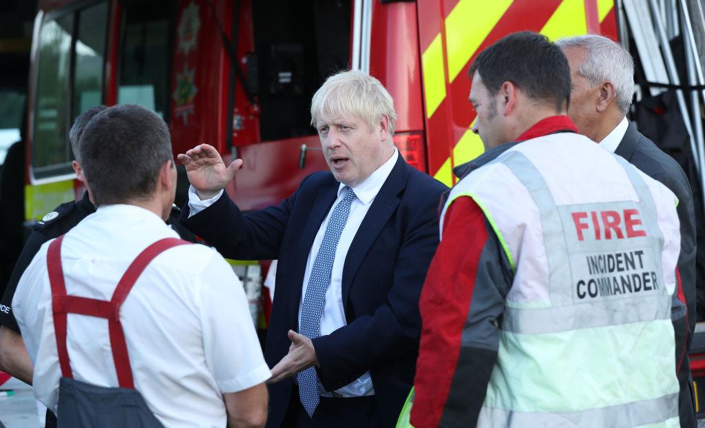 Boris Johnson visits damaged Derbyshire dam as storms expected