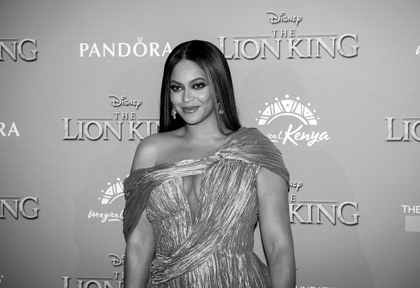 """LONDON, ENGLAND - JULY 14: (EDITORS NOTE: Image has been converted to black and white) Beyonce Knowles-Carter attends the European Premiere of Disney's """"The Lion King"""" at Odeon Luxe Leicester Square on July 14, 2019 in London, England. (Photo by Gareth Cattermole/Getty Images for Disney)"""