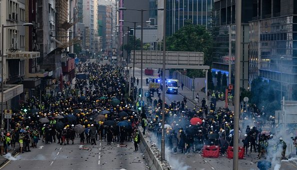 Police fire water canon and tear gas at Hong Kong protesters