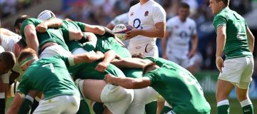 England's scrum-half Ben Youngs (C) prepares to put the ball in the scrum during the international Test rugby union match between England and Ireland at Twickenham Stadium in west London on August 24, 2019. (Photo by Glyn KIRK / AFP) (Photo credit should read GLYN KIRK/AFP/Getty Images)