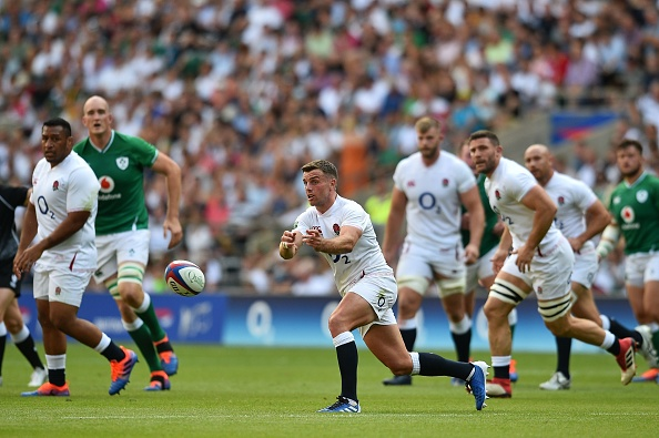 England's fly-half George Ford (C) passes the ball during the international Test rugby union match between England and Ireland at Twickenham Stadium in west London on August 24, 2019. (Photo by Glyn KIRK / AFP)        (Photo credit should read GLYN KIRK/AFP/Getty Images)