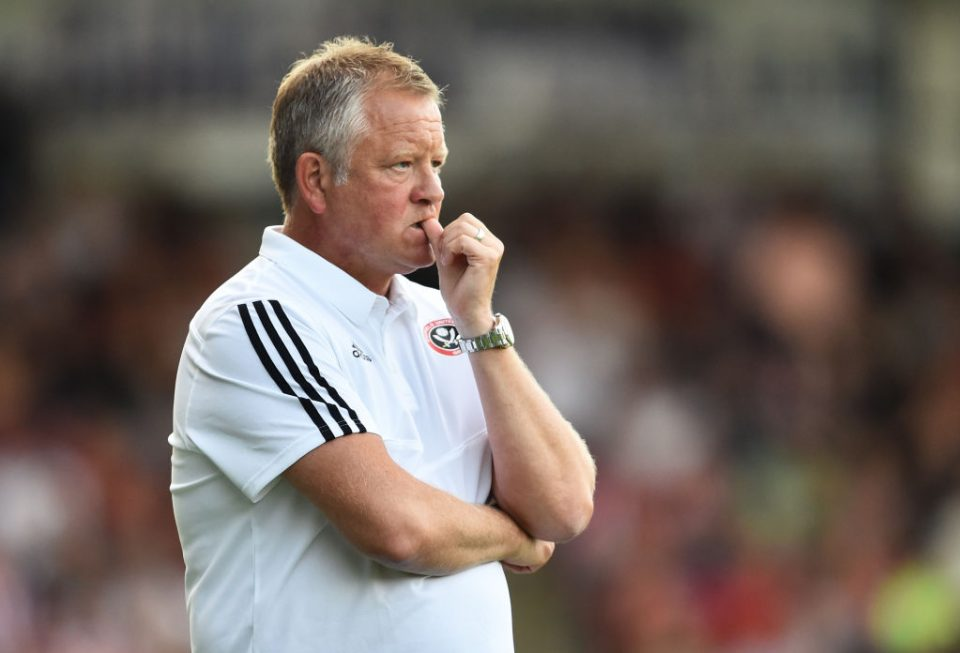 CHESTERFIELD, ENGLAND - JULY 23: Chris Wilder manager of Sheffield United looks on during the Pre-Season Friendly match between Chesterfield and Sheffield United on July 23, 2019 in Chesterfield, England. (Photo by Nathan Stirk/Getty Images)