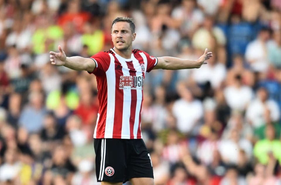 CHESTERFIELD, ENGLAND - JULY 23: Phil Jagielka of Sheffield United gestures during the Pre-Season Friendly match between Chesterfield and Sheffield United at  on July 23, 2019 in Chesterfield, England. (Photo by Nathan Stirk/Getty Images)