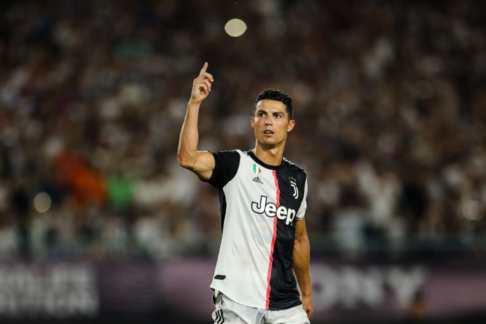 NANJING, CHINA - JULY 24:  Cristiano Ronaldo of Juventus reacts after scoring during the penalty shootout of the International Champions Cup match between Juventus and FC Internazionale at the Nanjing Olympic Center Stadium on July 24, 2019 in Nanjing, China. (Photo by Yifan Ding/Getty Images)